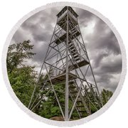 Round Beach Towel featuring the photograph Ronadaxe Firetower by Rod Best
