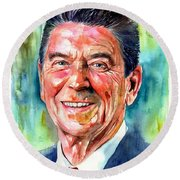 Ronald Reagan Watercolor Round Beach Towel