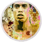 Round Beach Towel featuring the mixed media Ronaldinho Gaucho by Svelby Art