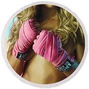 Round Beach Towel featuring the painting Ronda Rousey Artwork  by Sheraz A