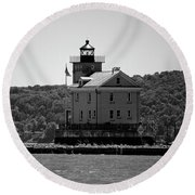 Rondout Lighthouse In Spring #1 Round Beach Towel