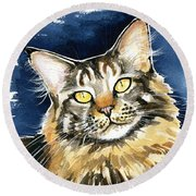 Ronja - Maine Coon Cat Painting Round Beach Towel