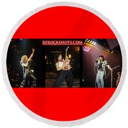 Ronnie James Dio, Eddie Van Halen And Steve Perry Round Beach Towel