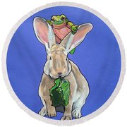 Ronnie The Rabbit Round Beach Towel