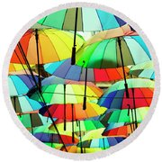 Roof Made From Colorful Umbrellas Round Beach Towel