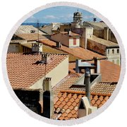 Roofs Of Arles Round Beach Towel