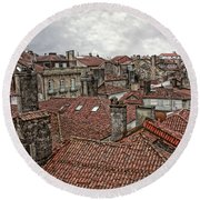 Roofs Over Santiago Round Beach Towel