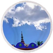 Round Beach Towel featuring the digital art Rooftop And Sky by Francesca Mackenney