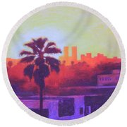 Round Beach Towel featuring the painting Rooftop Glow by Andrew Danielsen