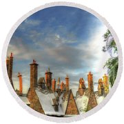 Round Beach Towel featuring the photograph rooftops Hogsmeade by Tom Prendergast