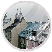 Round Beach Towel featuring the photograph Rooftops by John Schneider