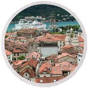 Rooftops Of Kotor  Round Beach Towel
