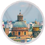 Round Beach Towel featuring the photograph Rooftops Of Seville - 1 by Mary Machare