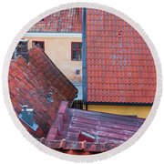 Rooftops Of The Swedish Town Visby Round Beach Towel