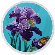Kim's Iris's With Monarch. Round Beach Towel