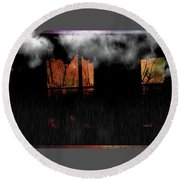 Room With Clouds Round Beach Towel