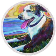 Round Beach Towel featuring the painting Rooney by Robert Phelps