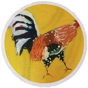 Round Beach Towel featuring the painting Rooster 2 by Donald J Ryker III