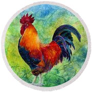 Round Beach Towel featuring the painting Rooster 2 by Hailey E Herrera