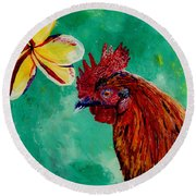 Round Beach Towel featuring the painting Rooster And Plumeria by Marionette Taboniar