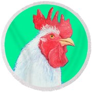 Rooster Art On Green Background Round Beach Towel
