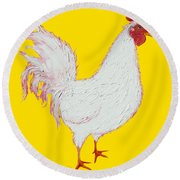 Rooster Art On Yellow Background Round Beach Towel by Jan Matson