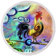 Rooster At The Outpost Round Beach Towel