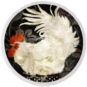 Rooster Damask Dark Round Beach Towel