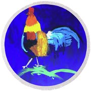Round Beach Towel featuring the painting Rooster by Donald J Ryker III