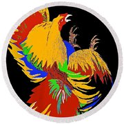 Rooster Fight Round Beach Towel by Saundra Myles
