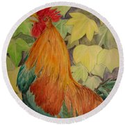 Rooster Round Beach Towel by Laurianna Taylor