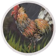 Rooster - Moby - Chicken Round Beach Towel by Jan Dappen