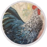 Round Beach Towel featuring the painting Rooster Of The Year by Lucia Grilletto