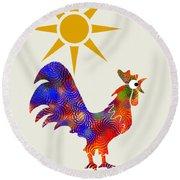 Rooster Pattern Art Round Beach Towel