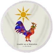 Rooster Pattern Art Round Beach Towel by Christina Rollo