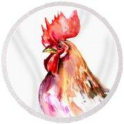 Rooster Portrait Round Beach Towel by Suren Nersisyan