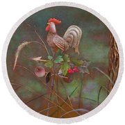 Round Beach Towel featuring the painting Rooster Weather Vane In Garden by Nancy Lee Moran