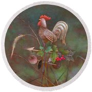 Round Beach Towel featuring the painting Rooster Weather Vane In Square Format by Nancy Lee Moran