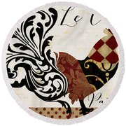 Roosters Of Paris II Round Beach Towel