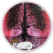 Rooted In Him Round Beach Towel
