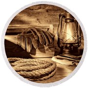 Rope And Tools In A Barn Round Beach Towel
