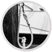 Rope Fence Fragment In Harbour Round Beach Towel