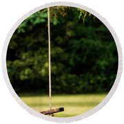 Round Beach Towel featuring the photograph Rope Swing  by Shelby Young
