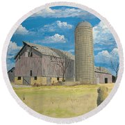 Round Beach Towel featuring the painting Rorabeck Barn by Norm Starks