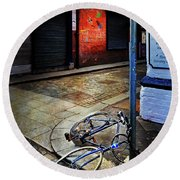 Round Beach Towel featuring the photograph Rory's Fishing Tackle Bicycle by Craig J Satterlee