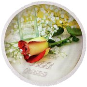 Rose And Bottle Round Beach Towel by Larry Bishop