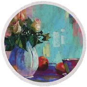 Rose And Peaches Still Life Round Beach Towel