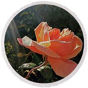 Round Beach Towel featuring the photograph Rose And Rays by Suzy Piatt