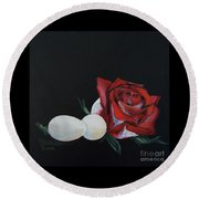Rose And The Eggs Acrylic Painting Round Beach Towel by Shelley Overton