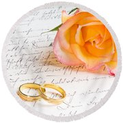 Rose And Two Rings Over Handwritten Letter Round Beach Towel
